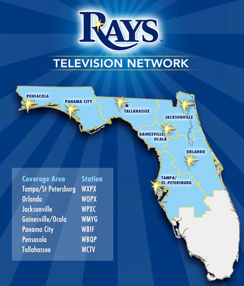 Tampa Bay Rays Game Broadcast Network Maps for Radio and Television