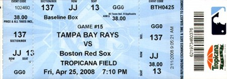 tampa bay devil rays, tropicana field, game ticket, inaugural season