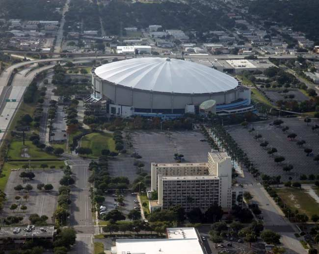 tropicana field, the trop, tampa bay rays home, st petersburg, florida, tropicana orange juice